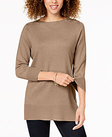 Karen Scott Side-Ribbed Boat-Neck Sweater, Created for Macy's