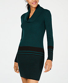 BCX Juniors' Cowl-Neck Striped Sweater Dress