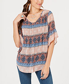 Style & Co Medallion Print Pintuck Top, Created for Macy's