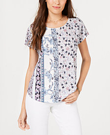 Style & Co Mixed Floral-Print Top, Created for Macy's