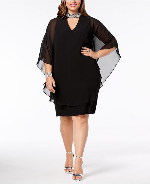 Plus Size Embellished Chiffon-Overlay Dress