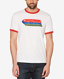 Original Penguin Men's Original Drop Shadow Logo Graphic Ringer T-Shirt