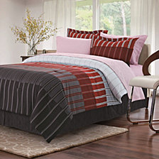 Ombre Stripe Queen Bed Set, Red