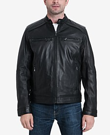 Men's Perforated Leather Moto Jacket, Created for Macy's