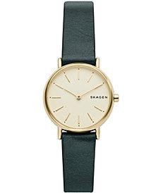 Skagen Women's Signature Slim Green Leather Strap Watch 30mm