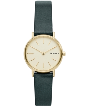 Skagen WOMEN'S SIGNATURE SLIM GREEN LEATHER STRAP WATCH 30MM