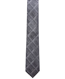 Alfani Men's Plaid Slim Silk Tie, Created for Macy's