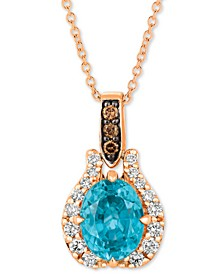 "Blue Zircon (1-9/10 ct. t.w.) & Diamond (1/5 ct. t.w.) 20"" Pendant Necklace in 14k Rose Gold"