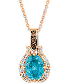 "Le Vian® Blue Zircon (1-9/10 ct. t.w.) & Diamond (1/5 ct. t.w.) 20"" Pendant Necklace in 14k Rose Gold"