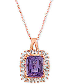 "Le Vian® Baguette Frenzy™  Amethyst (2-1/2 ct. t.w.) & Diamond (1/3 ct. t.w.) 20"" Pendant Necklace in 14k Rose Gold"