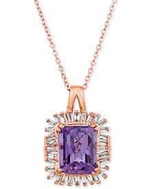 "Le Vian® Baguette Frenzy™  Amethyst (2-1/2 ct. t.w.) & Diamond (1/3 ct. t.w.) 20"" Pendant Necklace in 14k Rose Gold"