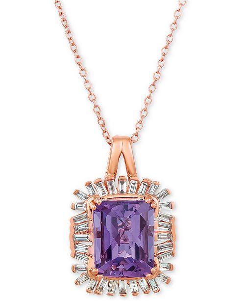 "Le Vian Baguette Frenzy™  Amethyst (2-1/2 ct. t.w.) & Diamond (1/3 ct. t.w.) 20"" Pendant Necklace in 14k Rose Gold"