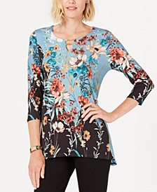 JM Collection Petite Printed Stretch Top, Created for Macy's