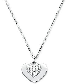 "Women's Mini Pavé Heart Sterling Silver Necklace, 16"" + 2"" extender"