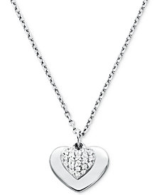 Michael Kors Women's Kors Love Pavé Heart Sterling Silver Necklace