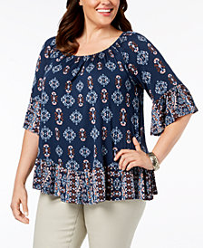 Style & Co Plus Size Mixed-Print Off-The-Shoulder Flounce-Hem Top, Created for Macy's