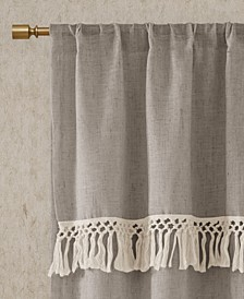 "Brynn 50"" x 63"" Faux Linen Rod Pocket Window Curtain With Attached Tassel Trim Valance"