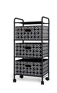 3-Drawer Storage Cart with Black Bins