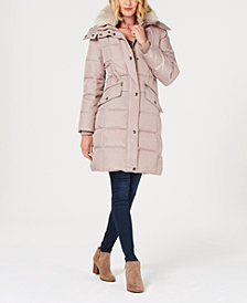 London Fog Petite Faux-Fur-Trim Hooded Puffer Coat