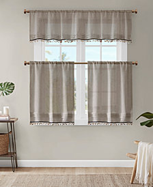 "Madison Park Dalis 50"" x 18"" Faux Linen Rod Pocket Valance With Shell Trim"