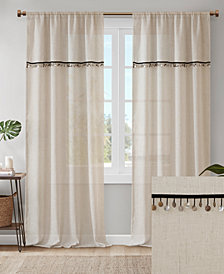 "Madison Park Dalis 50"" x 84"" Faux Linen Rod Pocket Window Curtain With Attached Shell Trim Valance"