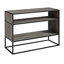 "40"" Rustic Metal and Wood Open Shelf Storage TV Stand Media Console  - Grey Wash"