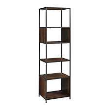 "70"" Urban Industrial Metal and Wood Bookshelf Audio Media Bookshelf - Dark Walnut"