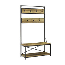 Industrial Metal and Wood Storage Coat Rack Hall Tree with Bench - Rustic Oak