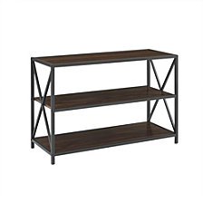 "40"" Urban Industrial X-Frame Metal and Wood Bookcase - Dark Walnut"