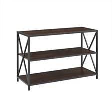 "40"" X-Frame Metal and Wood Media Bookshelf - Dark Walnut"
