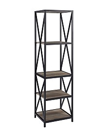 Metal X Tower with Wood Shelves - Grey Wash