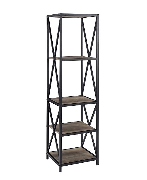 Walker Edison Metal X Tower with Wood Shelves - Grey Wash