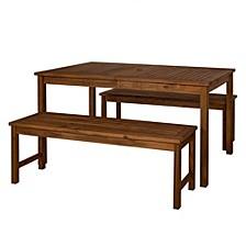 Outdoor Classic Contemporary Acacia Wood Simple Patio 3-Piece Dining Set - Dark Brown