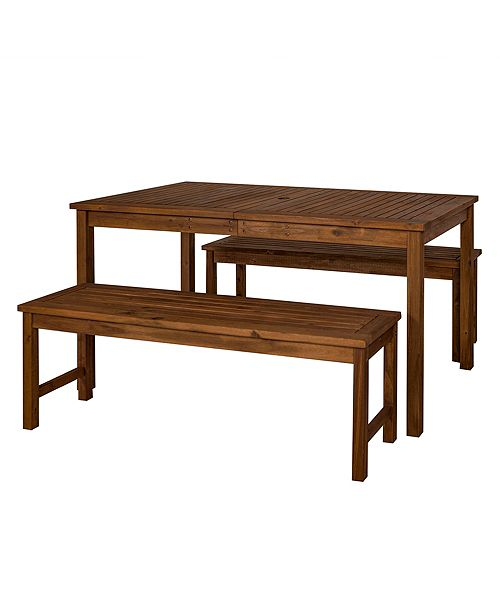 Walker Edison Outdoor Classic Contemporary Acacia Wood Simple Patio 3-Piece Dining Set - Dark Brown
