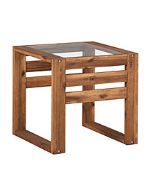 "20"" Outdoor Classic Contemporary Open Side Acacia Wood and Glass End Table  - Brown"