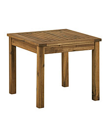 "20"" Outdoor Wood Patio Simple Side Table - Brown"
