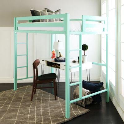 ... Walker Edison Premium Deluxe Twin Metal Loft Bed   Mint ...