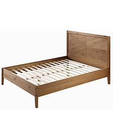 Transitional Solid Pine Wood Queen Bed - Caramel