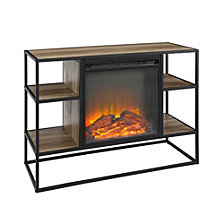 "40"" Rustic Metal and Wood Open-Shelf Fireplace TV Stand Storage Console - Rustic Oak"