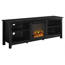 "70"" Wood Fireplace Media TV Stand Console - Black"