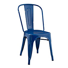 Stackable Metal Café Bistro Chair - Navy Blue