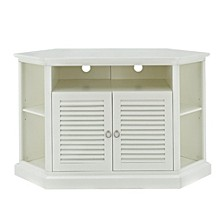 "52"" Wood Corner TV Media Stand Storage Console - White"