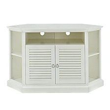 "52"" Transitional Wood Corner Media TV Stand Storage Console - White"