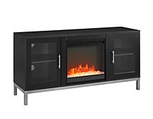 "52"" Avenue Wood Fireplace TV Console with Metal Legs - Black"