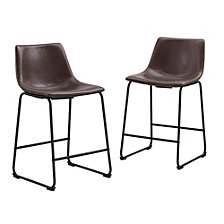Faux Leather Dining Kitchen Counter Stools Set of 2 - Brown