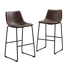 "30"" Industrial Faux Leather Barstools, set of 2 - Brown"