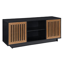 "56"" Vertical Slat Door Console - Solid Black/ Acorn"