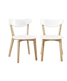 Retro Modern Wood Kitchen Dining Chairs, Set of 2 – White and Natural