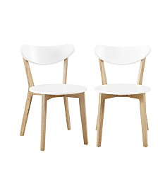Retro Modern Wood Kitchen Dining Chairs - Set of 2