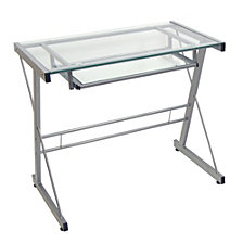 "31"" Glass And Metal Modern Solo Home Office Computer Desk With Keyboard Tray – Silver"